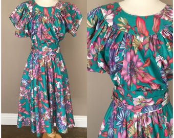 Vintage 1980s Patty O Neil Dress Teal Floral Open Back Full Skirt Retro  Easter 98bc529f971