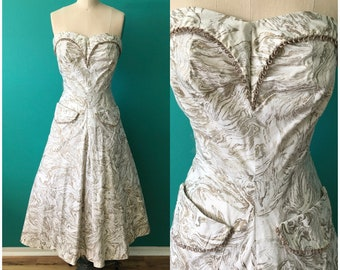 04f60d117fd5 Vintage 50s Strapless White Gold Dress Full skirt Rockabilly Party Evening