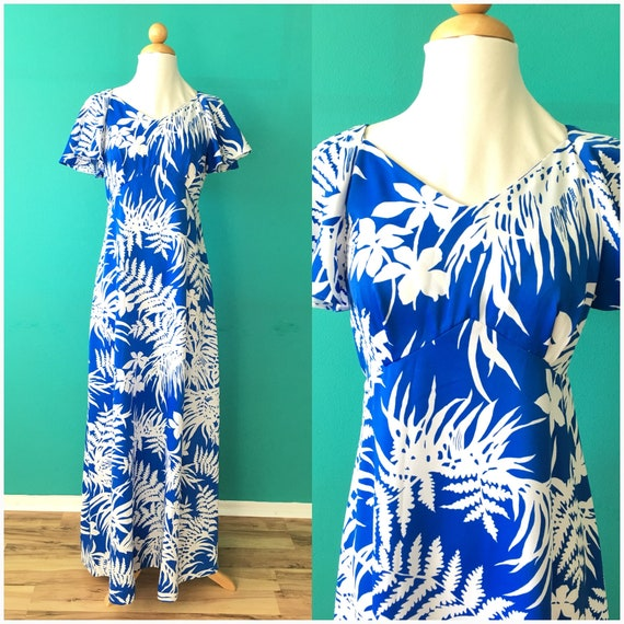 Vintage 90s Hawaiian Maxi Dress Blue White Flutter