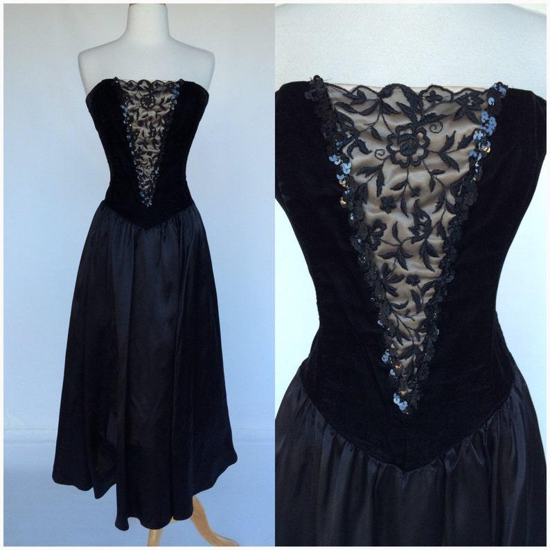 aa450e26c93c Vintage 80s Gunne Sax Black Dress Strapless Basque Waist LBD   Etsy