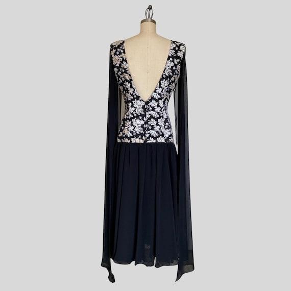 Vintage 80s Jessica McClintock Black Embroidered … - image 5