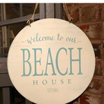 """Handpainted Wood Sign: """"Welcome to our BEACH House"""" personalized with date"""