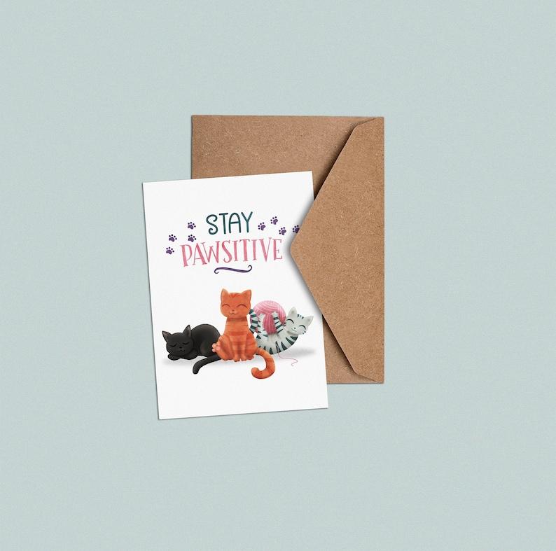 Stay Pawsitive  Postcard image 0