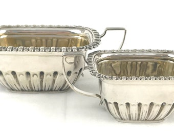 Antique Strawberry Set, Fruit Duo, Sugar Bowl and Creamer, Bowl and Jug, Gadrooned Border, Gilded Interior, Quality Vintage, Unique Servers