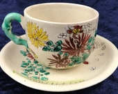 Antique Collectible Cup and Saucer, Early 20th Century, Japanese Kinkozan, Awata Kyo-yaki, Satsuma Style, Afternoon Tea, Floral Duo, Unique