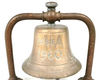 Nautical Memorabilia, Vintage Bell, Ships Bell, Lobie II 1960, Brass Bell, Boats Helm, Table Decoration, Mounted Bell, Historical Feature