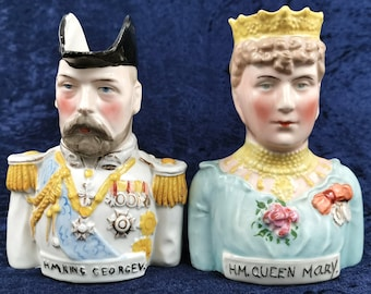 Stunning Pair of Character Jugs, Royal Busts, George V and Mary, 1911 Coronation, Novelty Antiques, Colorful Royals, Historical Rare, Jugs