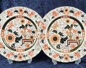 Pair of Antique Plates, Mason 39 s Ironstone, Imari Palette, Intricate Floral, Vase of Flowers, Dinner Plates, Pair of, Chinoiserie, Unique