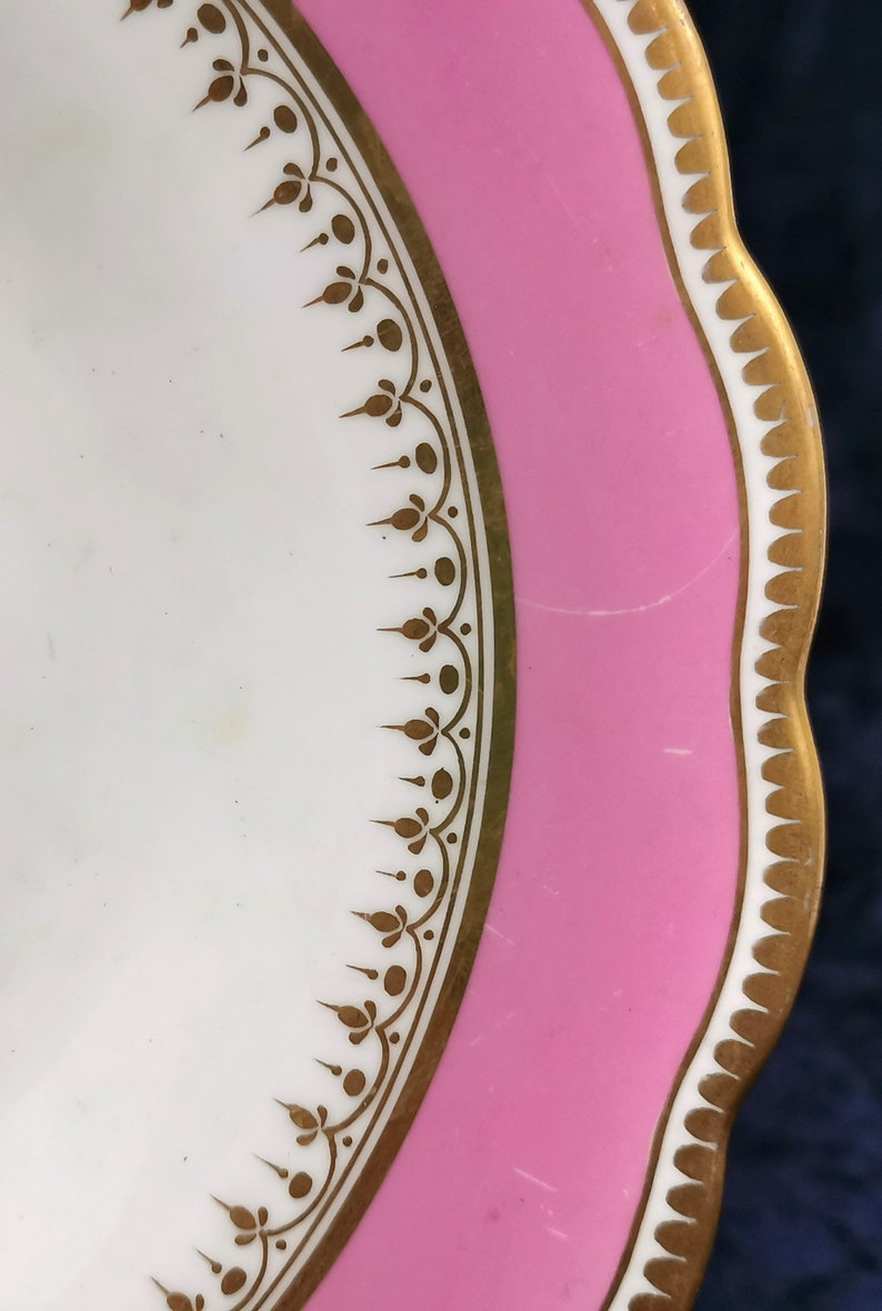 Compote Top Antique Cabinet Plate Decorative Antique Rare Camel Crest Camel Center 19th Century Pink and White Tazza Plate AT FAULT