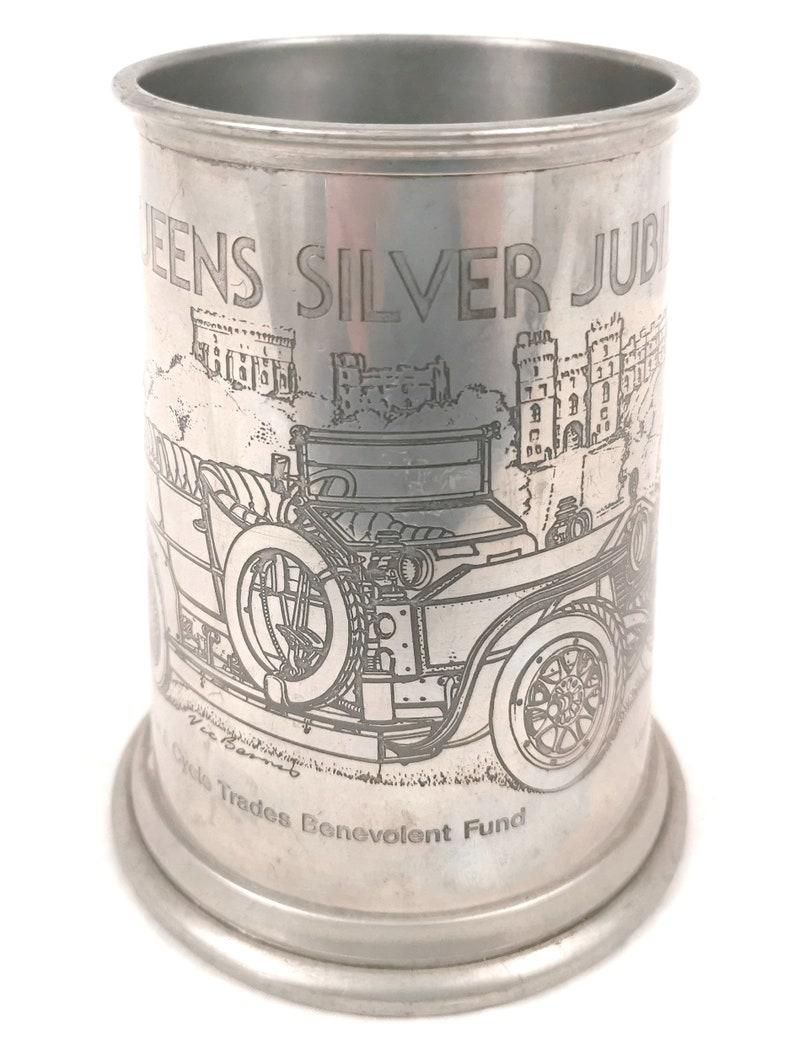 Classic Car Design Unique Commemorative Pint Tankard Limited Edition Benevolent Fund QEII Vintage Pewter Tankard 1977 Silver Jubilee