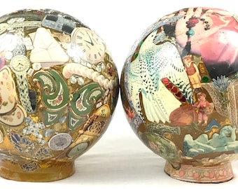 Truly Unique Pair of Globes, Glass Globes, Bubble Amber Glass, Decoupage, LO 1983, Glamour Style, Home Feature, Lighting Idea, Unique Rare