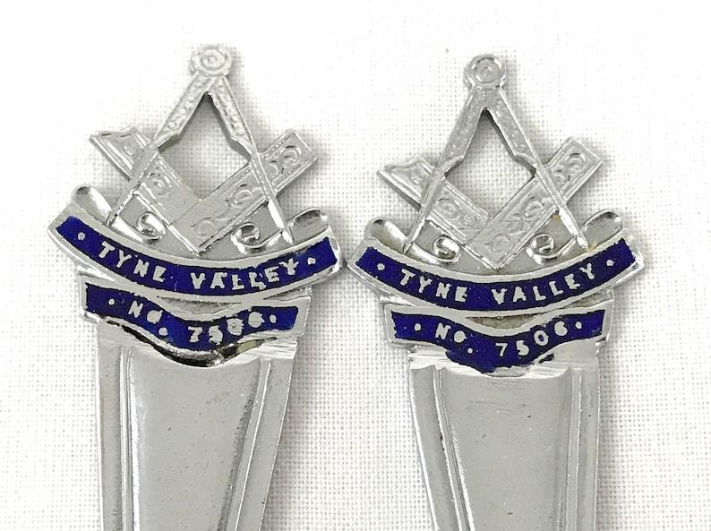 FREE POST Berry Fruit Spoons Rare Pair of Spoons Chrome and Enamel Masonic Flatware Haltwhistle Masonic Lodge Tyne Valley No 7506