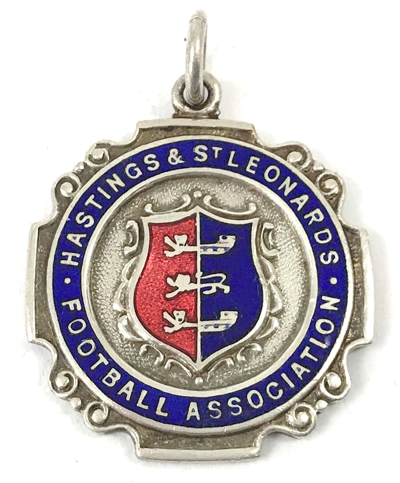 Fob Medal Silver Plate /& Enamel Hastings and St Leonards Football Association FREE POST Division III 1953 Vintage Football Medal Rare