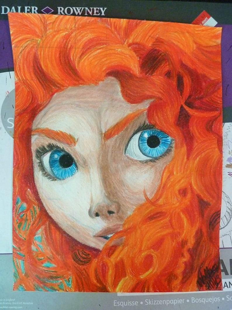 Merida Coraggioso Di Disney Colorato Disegno A Matita Etsy