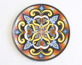 Fall decorative plate Mystic Flower - Wall hanging - Hand painted decorative plate