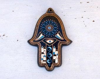 Hanging Hamsa Starlit Night // Hand painted hamsa // Wall decor // Ceramic wall hanging // Hand of Fatima // Blue, white, black // Evil Eye