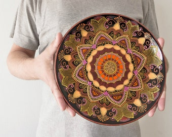 Large decorative plate Mandarin Sunset - Wall hangings - Orange plate - Oriental art - Point-to-point - Mandala plate - Home gifts