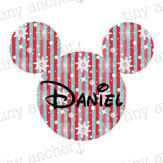 Printable personnalisé Mickey bleu et rouge de flocons de neige Noël vacances en famille Disney vacances fer sur le transfert