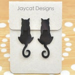 Dangle Cat Earrings, Black Cat Earrings, Cat Earring Jackets, Cat Earrings, Dangly Earrings