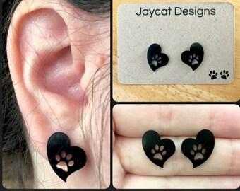 Cat Paw Print Earrings, Cat Earrings, Cat Stud Earrings, Heart Earrings, Paw Print Heart Earrings
