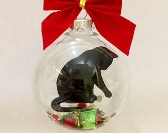 Cat Christmas Ornament, Black Cat Christmas Ornament, Cat Memorial Ornament