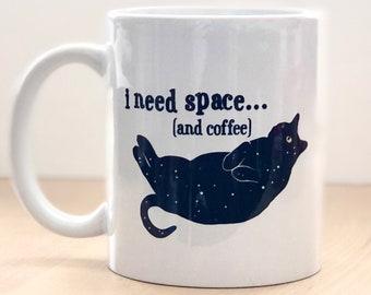 Galaxy Cat Mug, Space Cat Coffee Mug, Black Cat Mug, Cat Lover Coffee Cup