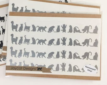 Silver Gray Cat Decals, Tiny Cat Stickers, Small Cat Silhouette Vinyl Decal, Itty Bitty Cat Laptop Decal, Silver Decals