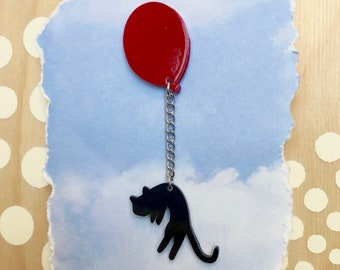 Cat with Red Balloon Pin or Magnet, Black Cat Pin, Whimsical Animal Pin, Cat Magnet, Balloon Magnet