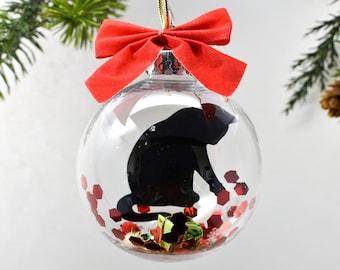 Cat Christmas Ornament, Black Cat Christmas Ornament, Cat Memorial Ornament, Personalized Pet Ornament