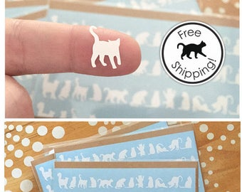 Tiny White Cat Stickers, Small Cat Silhouette Vinyl Decal, Itty Bitty Cat Laptop Decal,