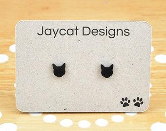 Cat Earrings, Black Cat Earrings, Cat Stud Earrings