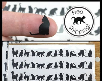 Cat Decals, Cat Laptop Decals, Tiny Black Cat Stickers, Small Cat Silhouette Vinyl Decal, Itty Bitty Kitty Laptop Decal,