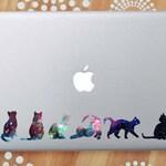 Galaxy Cat Laptop Decal, Cat Car Decal, Space Cat Silhouette Decals, Galaxy Cat Sticker