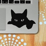 Cat Laptop Decal, Black Cat Sticker, Cat Silhouette Vinyl Decal, Cat Car Decal, Cat Wall Decal