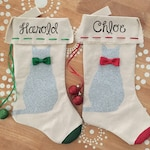 Gray Cat Christmas Stocking, Cat Stocking, Silver Cat Stocking