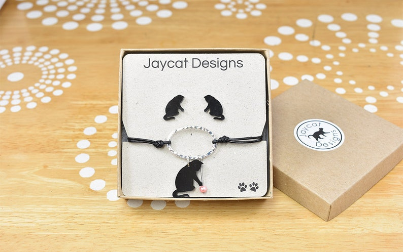 Cat Jewelry Gift Set Cat Earrings and Bracelet Gift Set Cat Lady Gift