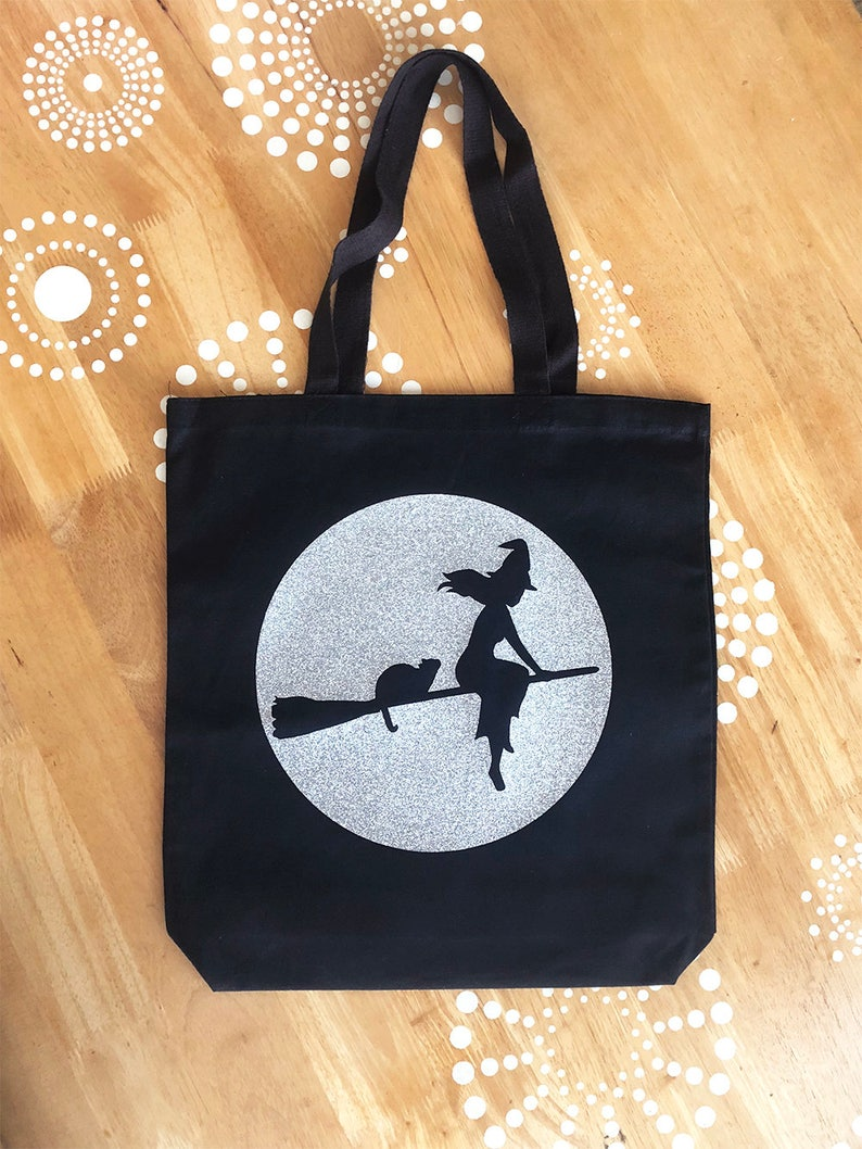 Halloween Tote Bag Witch Tote Bag Black Cat Tote Bag Canvas image 0