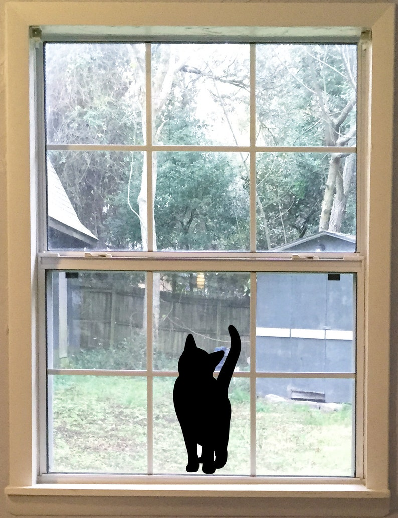 Large Curious Black Cat Silhouette Vinyl Decal Cat Wall image 0