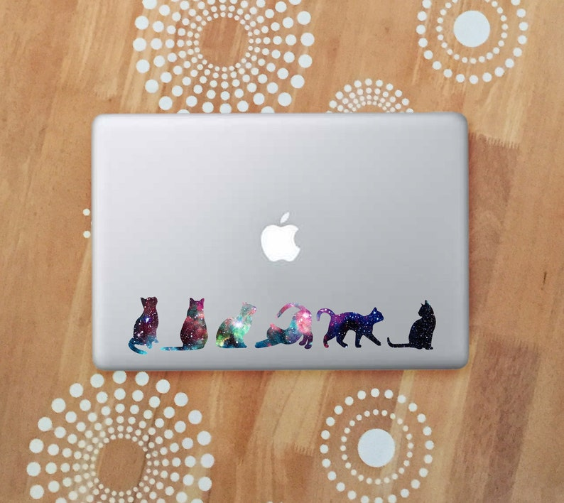Galaxy Cat Laptop Decal Cat Car Decal Space Cat Silhouette image 0