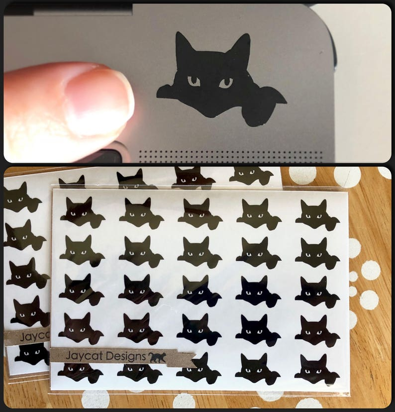 Tiny Black Cat Decals Itty Bitty Kitty Stickers Small Cat image 0