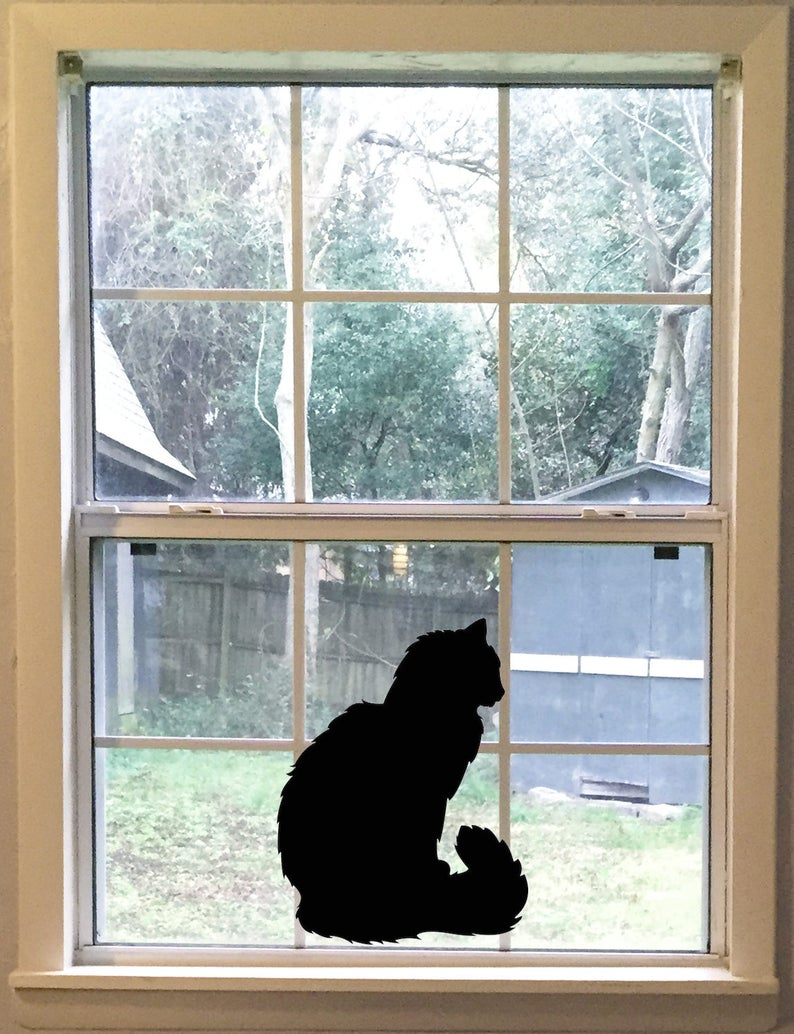 Large Fluffy Cat Wall Decal Black Cat Silhouette Vinyl Decal image 0