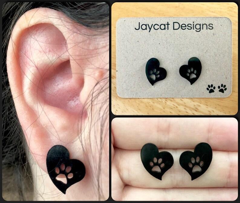 Cat Stud Earrings Heart Earrings Cat Earrings Cat Paw Print Earrings Paw Print Heart Earrings