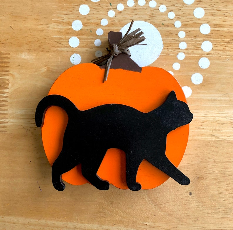 Halloween Cat Decor Black Cat Decor Pumpkin Decor Halloween image 0