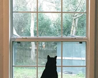 Large Sitting Black Cat Silhouette Vinyl Decal