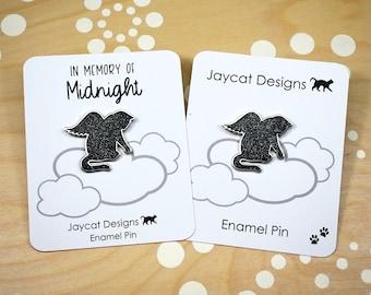 Angel Cat Enamel Pin, Cat Lapel Pin, Cat Memorial Pin, Enamel Cat Pin, Black Cat Pin, Black Cat Memorial, Guardian Angel Pin