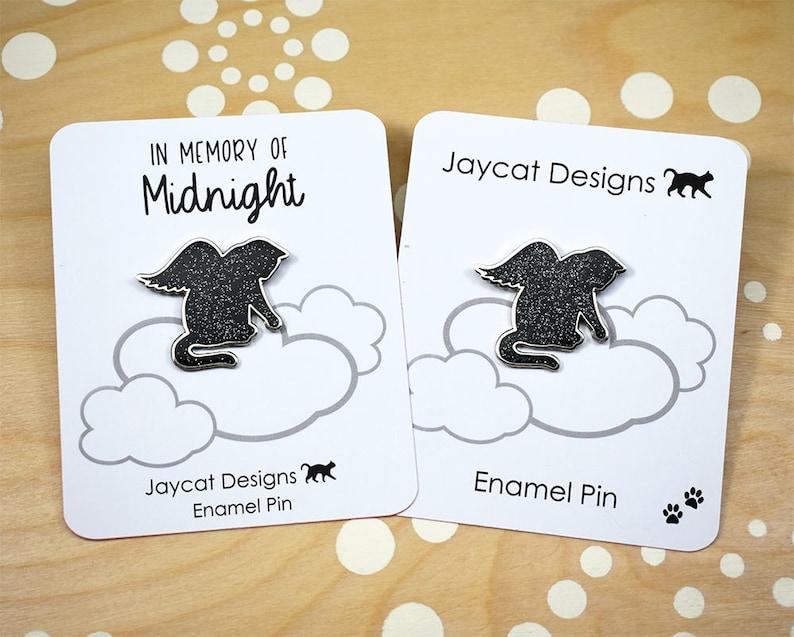 Angel Cat Enamel Pin Cat Lapel Pin Cat Memorial Pin Enamel image 0
