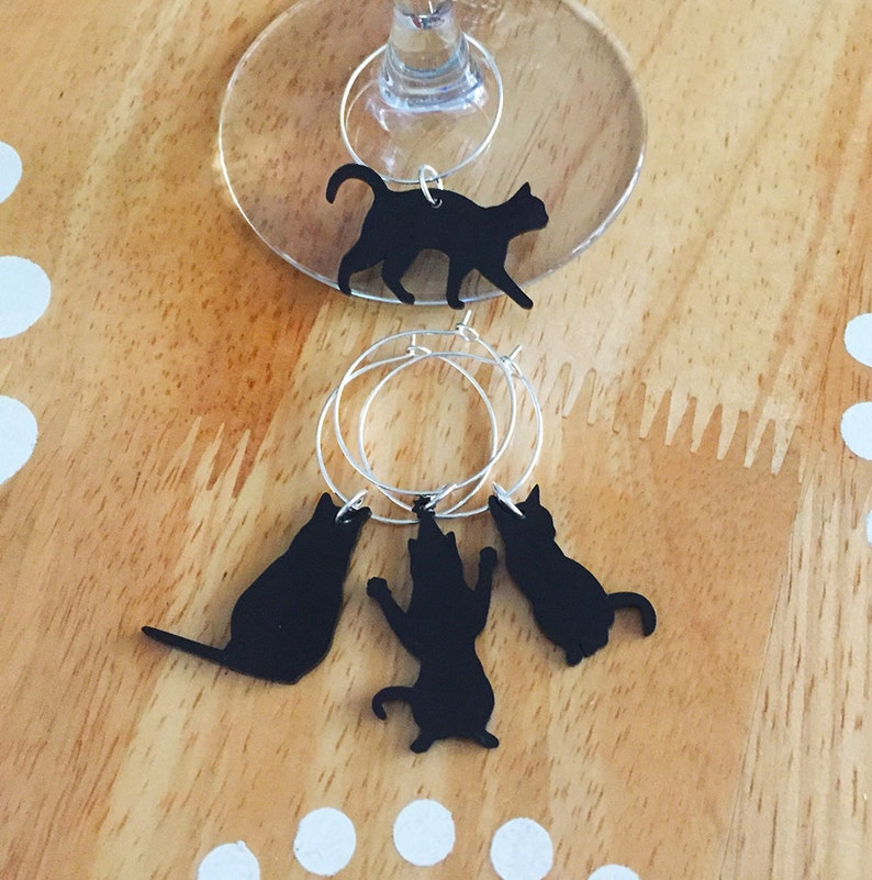 Cat Wine Charms Black Cat Wine Charms Cat Lady Wine Charms image 0