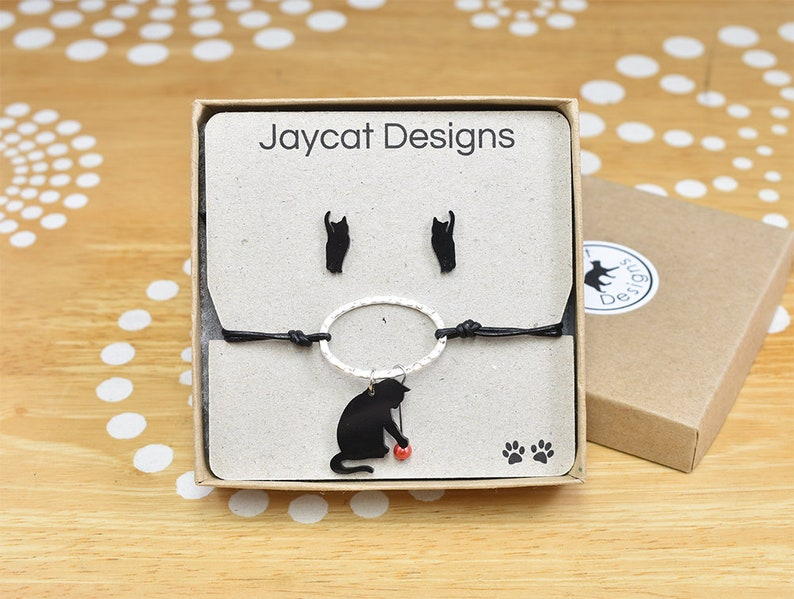 Black Cat Bracelet and Cat Earrings Set Cat Silhouette image 0