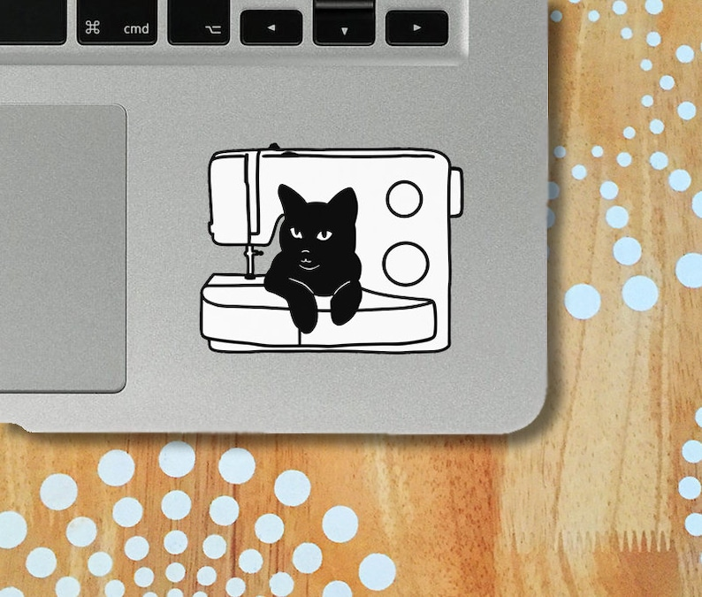 Cat and Sewing Machine Decal Cat Laptop Decal Black Cat image 0