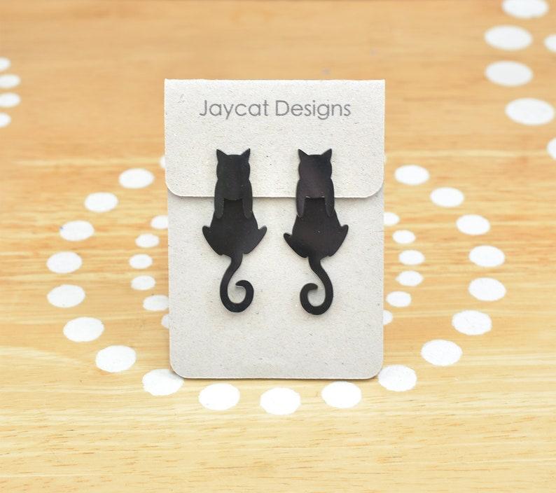 Dangle Cat Earrings Black Cat Earrings Cat Earring Jackets image 0